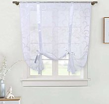 LinTimes White Embroidery Roman Short Window