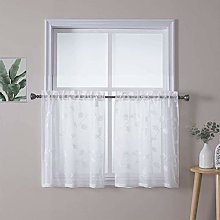 LinTimes White Embroidery Sheer Voile Window