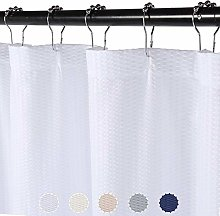 LinTimes White Shower Curtains, Waffle Weave