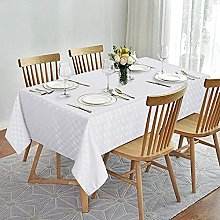 LinTimes Wipe Clean White Plaid Tablecloth Round