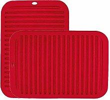 LINVINC Red Silicone Trivet Mat - Heat Resistant