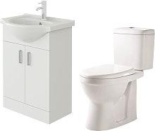 Linx 550mm White Gloss Floor Vanity Basin Cabinet
