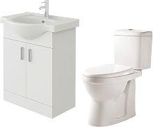Linx 650mm White Gloss Floor Vanity Basin Cabinet