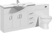 Linx Bathroom Vanity Unit WC Toilet Pan Cistern Furniture Set - 1700mm - Veebath