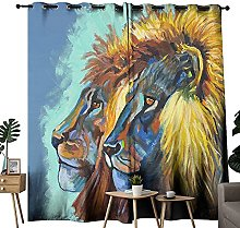 Lion Art Animal Black Out Curtains For Of Bedroom