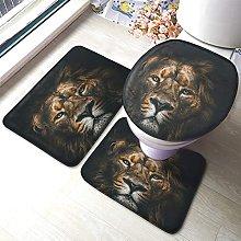 Lion Bathmat,Cool Lion Face 3 Piece Bathroom Rug