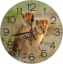 Lion Cubs Round Wall Clock Silent Non Ticking
