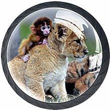 Lion Monkey Tiger Cabinet Hardware Round Knobs