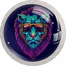 Lion Portrait with Sunglasses Round Knob Metal
