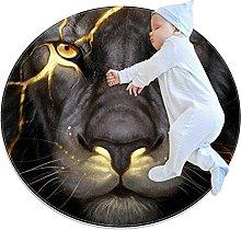 lion, Round Area Rug Pattern Round Children Area