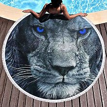 Lion With Blue Eyes Printed Round Beach Towel Yoga