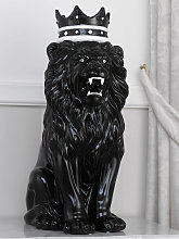 Lion with crown Malik ceramic statue in black