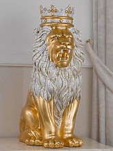 Lion with crown Malik ceramic statue in crackle