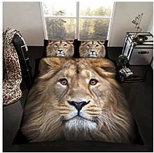 Lions Animal Print Bedding Set, Luxury 3D Duvet