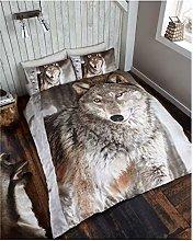 Lions Animal Print Bedding Set, Luxury 3D Duvet