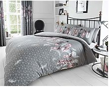Lions Feathers Grey Double Duvet Quilt Cover &