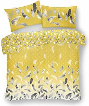 Lions Feathers Yellow Duvet Cover Set with
