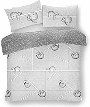 Lions Sloth Grey Duvet Quilt Cover & Pillow Case