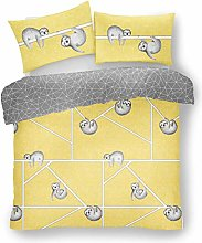 Lions Sloth Ochre Duvet Quilt Cover With Pillow