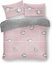 Lions Sloth Pink Duvet Quilt Cover With Pillow