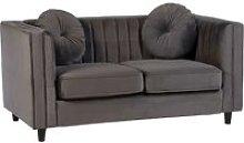 Lismore Contemporary 2 Seater Sofa In Grey Velvet