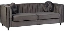 Lismore Contemporary 3 Seater Sofa In Grey Velvet