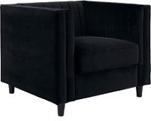 Lismore Contemporary Sofa Chair In Black Velvet