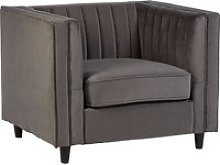 Lismore Contemporary Sofa Chair In Grey Velvet