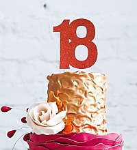 LissieLou 18th Birthday Cake Topper - Glittery Red