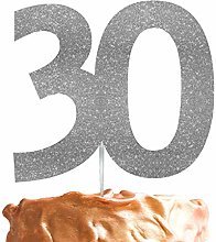 LissieLou 30th Birthday Cake Topper Glitter Silver