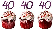 LissieLou 40th Birthday Cupcake Toppers in