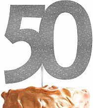 LissieLou 50th Large Cake Topper Glitter Silver