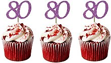 LissieLou 80th Birthday Cupcake Toppers in