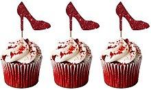 LissieLou Glittery Dark Pink Heel Cupcake Toppers