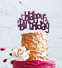 LissieLou Happy Birthday Cake Topper with Swirls