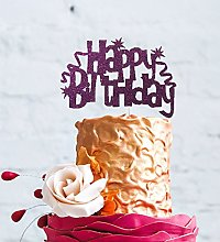 LissieLou Happy Birthday Cake Topper with Swirls