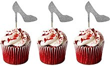 LissieLou Heel Cupcake Toppers - Glittery Silver -