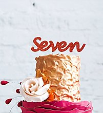 LissieLou Number Seven Cake Topper - Glitter Red -