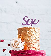 LissieLou Number Six Large Cake Topper - Glitter