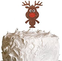 LissieLou Reindeer Christmas Cake Topper - Glitter
