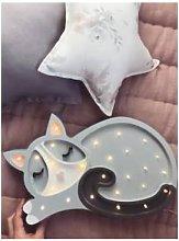 little lights - Grey Cat Lamp