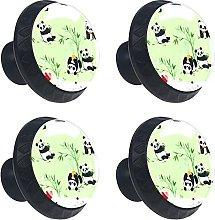 Little Pandas and Bamboo Plants 4PCS Round Drawer
