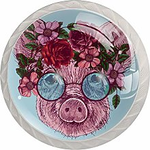 Little Pig with Roses Wreath 4 Pack Round Drawer