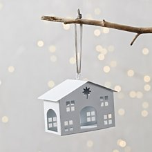 Little White Barn Christmas Decoration, White, One