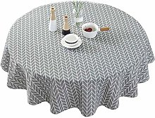 litulituhallo Table Cloth Round Cotton Blended