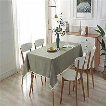 LIUJIU Cotton Linen Table Cloth Tassel Lace for