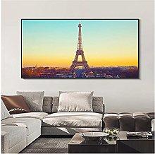 LIUYUEKAI Eiffel Tower Sunset Landscape Canvas