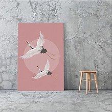 LIUYUEKAI Japanese Style Flying Cranes Canvas Wall