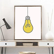 LIUYUEKAI Light Bulb Canvas Wall Art Print Poster