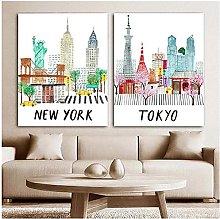 LIUYUEKAI Travel City Poster New York Tokyo